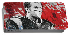 Tom Brady Red White And Blue Portable Battery Charger by John Farr