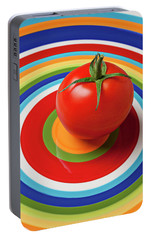 Tomato On Plate With Circles Portable Battery Charger by Garry Gay