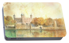 Tower Of London Watercolor Portable Battery Charger by Juan Bosco