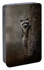 Tree Hugger Raccoon Art Portable Battery Charger by Jai Johnson