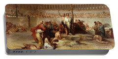 Triumph Of Faith    Christian Martyrs In The Time Of Nero Portable Battery Charger by Eugene Romain Thirion