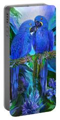 Tropic Spirits - Hyacinth Macaws Portable Battery Charger by Carol Cavalaris