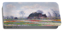 Tulip Fields At Sassenheim Portable Battery Charger by Claude Monet