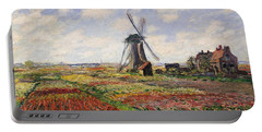 Tulip Fields With The Rijnsburg Windmill Portable Battery Charger by Claude Monet