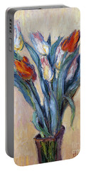 Tulips Portable Battery Charger by Claude Monet