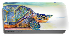 Turtle At Poipu Beach 2 Portable Battery Charger by Marionette Taboniar