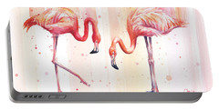 Two Flamingos Watercolor Portable Battery Charger by Olga Shvartsur