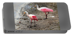 Two Roseate Spoonbills Portable Battery Charger by Carol Groenen
