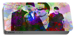 U2 Band Portrait Paint Splatters Pop Art Portable Battery Charger by Design Turnpike