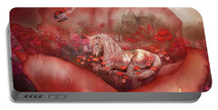Unicorn Of The Poppies Portable Battery Charger by Carol Cavalaris