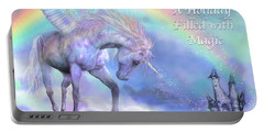 Unicorn Of The Rainbow Card Portable Battery Charger by Carol Cavalaris