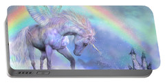 Unicorn Of The Rainbow Portable Battery Charger by Carol Cavalaris