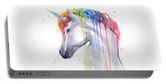 Unicorn Rainbow Watercolor Portable Battery Charger by Olga Shvartsur