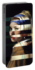 Vermeer's Girl With A Pearl Earring And Grace Kelly Portable Battery Charger by Luigi Tarini