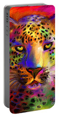 Vibrant Leopard Painting Portable Battery Charger by Svetlana Novikova