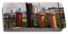 Victorian London Chimney Pots Portable Battery Charger by Rona Black