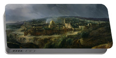 View Of Jerusalem From The Valley Of Jehoshaphat Portable Battery Charger by Auguste Forbin