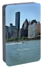 View Of Manhattan From Roosevelt Island Portable Battery Charger by Sandy Taylor