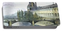 View Of The Pavillon De Flore Of The Louvre Portable Battery Charger by Francois-Marius Granet