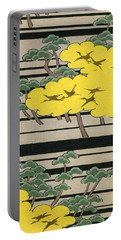 Vintage Japanese Illustration Of An Abstract Forest Landscape With Flying Cranes Portable Battery Charger by Japanese School