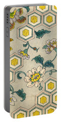 Vintage Japanese Illustration Of Blossoms On A Honeycomb Background Portable Battery Charger by Japanese School