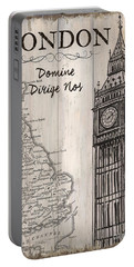 Vintage Travel Poster London Portable Battery Charger by Debbie DeWitt