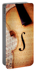 Violin And Musical Notes Portable Battery Charger by Garry Gay