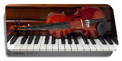 Violin On Piano Portable Battery Charger by Garry Gay