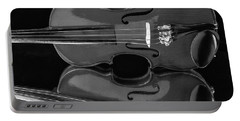 Violin Reflectiuon In Black And White Portable Battery Charger by Garry Gay