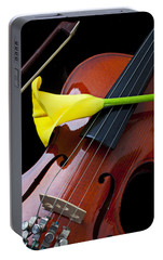 Violin With Yellow Calla Lily Portable Battery Charger by Garry Gay