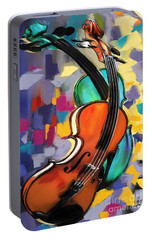 Violins Portable Battery Charger by Melanie D