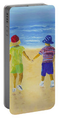 Portable Battery Charger featuring the painting Walk On The Beach by Rodney Campbell