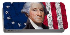 Washington And The American Flag Portable Battery Charger by War Is Hell Store