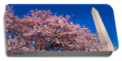 Washington Monument & Spring Cherry Portable Battery Charger by Panoramic Images