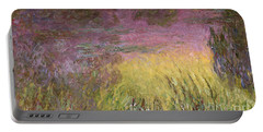 Waterlilies At Sunset Portable Battery Charger by Claude Monet