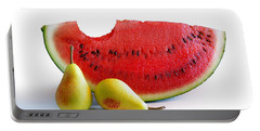 Watermelon And Pears Portable Battery Charger by Carlos Caetano