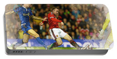 Wayne Rooney Of Manchester United Scores Portable Battery Charger by Don Kuing