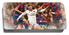 Wayne Rooney Shoots At Goal Portable Battery Charger by Don Kuing