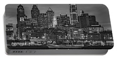Welcome To Penn's Landing Bw Portable Battery Charger by Susan Candelario