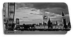 Westminster Black And White Portable Battery Charger by Dawn OConnor
