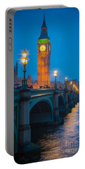 Westminster Bridge At Night Portable Battery Charger by Inge Johnsson