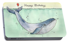 Whale Happy Birthday Card Portable Battery Charger by Katrina Davis