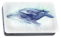 Whales Humpback Watercolor Mom And Baby Portable Battery Charger by Olga Shvartsur