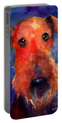 Whimsical Airedale Dog Painting Portable Battery Charger by Svetlana Novikova