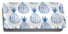 White And Blue Pineapple Party Portable Battery Charger by Linda Woods