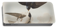 White-bellied Swallow Portable Battery Charger by John James Audubon