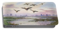 White-fronted Geese Alighting Portable Battery Charger by Carl Donner