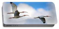 White Ibis Flock Portable Battery Charger by Mike Dawson