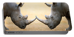White Rhinoceros  Head To Head Portable Battery Charger by Johan Swanepoel