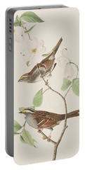 White Throated Sparrow Portable Battery Charger by John James Audubon